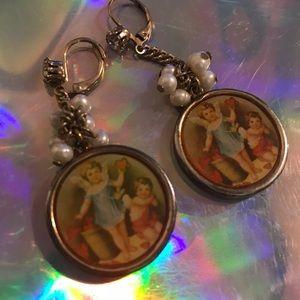 Angel cherubs love vintage earrings Betsey Johnson